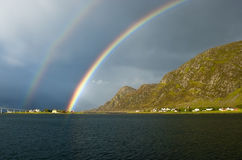 Norwegian Rainbow near Alesund Stock Photos