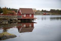 Norwegian red cottage Stock Photos