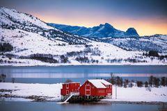 Norwegian red houses stock images