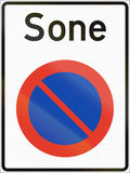 Norwegian regulatory road sign - No parking zone. Sone means Zone Royalty Free Stock Images