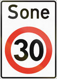 Norwegian regulatory road sign - Restricted speed zone. Sone means zone.  Royalty Free Stock Image