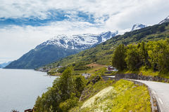 Norwegian road. Road along the shore of the fjord at the norwegian mountains, Norway Royalty Free Stock Image