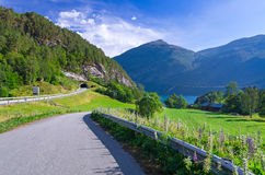 Norwegian road in Beautiful scenery Stock Photos