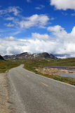 Norwegian road in the mountains. Stock Photo