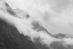 Norwegian rocky mountain landscape with fog. Stalheim viewpoint Royalty Free Stock Photos