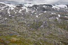 Norwegian rocky mountain landscape with secondary road. Norway h Royalty Free Stock Photography