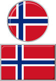 Norwegian round and square icon flag. Vector Stock Photography