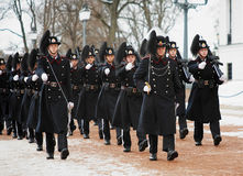 Norwegian Royal Guards in Oslo, Norway Stock Photo