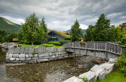 Rural landscape with grass on the rooftop of house, Hellesylt - Norway - Scandinavia Stock Image