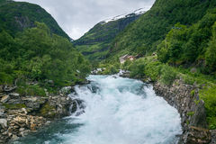 Norwegian rural landscape with fast mountain river Royalty Free Stock Image