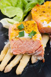 Norwegian salmon with asparagus Stock Photography