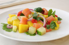 Norwegian salmon ceviche with mango and coriander Stock Images