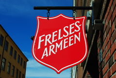 Norwegian Salvation Army sign. A sign with the logo of the Norwegian Salvation Army (Frelsesarmeen Royalty Free Stock Image