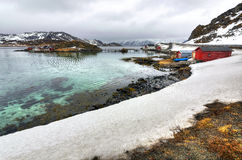 Norwegian sea bay in April Stock Photo