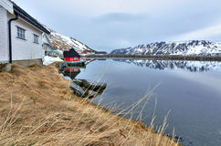 Norwegian sea bay in April Stock Photography