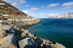 Norwegian sea bay in April Stock Image