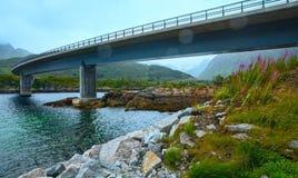 Norwegian Sea night view and bridge Royalty Free Stock Image