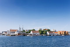 Norwegian seacoast with houses and yachts Stock Photos