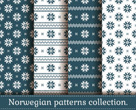 Norwegian seamless patterns. Vector set. Stock Images