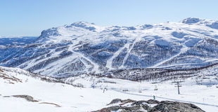 Norwegian ski slopes. View of Mount Totten and ski slopes in Hemsedal, Norway Royalty Free Stock Image