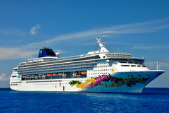 Norwegian Sky Cruise Ship. The Norwegian Sky was tendered off of their private island, Great Stirrup Cay, in the Bahamas royalty free stock photos