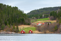 Norwegian small village, colorful wooden houses Stock Photo