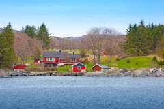 Norwegian small village with colorful wooden houses Royalty Free Stock Photos
