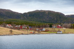 Norwegian small village, wooden houses and barns Royalty Free Stock Photography