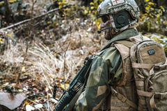Norwegian soldier in the forest Stock Photography