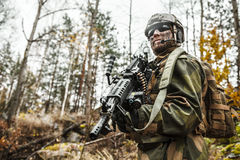 Norwegian soldier in the forest Stock Photos