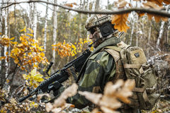 Norwegian soldier in the forest Stock Photo
