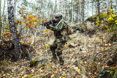 Norwegian soldier in the forest Royalty Free Stock Photography