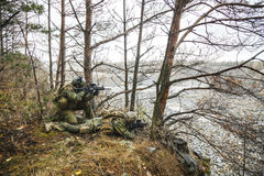 Norwegian soldiers in the forest Royalty Free Stock Images