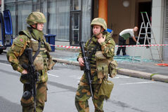 Norwegian soldiers after terrorist attack Royalty Free Stock Images