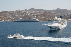Norwegian Spirit cruise ship in Mykonos Royalty Free Stock Photo