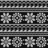 Norwegian star knitting pattern. Norwegian star  knitting seamless pattern, black and white Stock Images