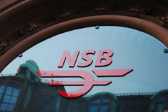 Norwegian State Railways logo. Head office of the Norwegian State Railways (Norwegian: Norges Statsbaner), commonly known as NSB. It is a company which is Stock Images