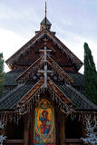 Norwegian stave church replica at Christmas Stock Photo
