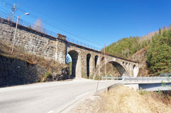Norwegian stone railway bridge. Drangedal, Norway, March 21, 2015: Stone bridge over Norwegian lake Tokevann consisting of the Upper and Lower Toke. Early spring Royalty Free Stock Photos