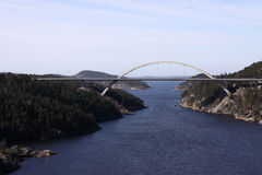 Norwegian Swedish Bridge. Seascape with bridge at the border between Norway and Sweden over Svinesund Royalty Free Stock Image
