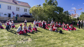 Norwegian teenagers in russ costumes rest Royalty Free Stock Images