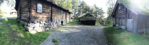 Norwegian timber houses Stock Photos