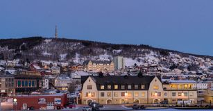 Norwegian town and mountains
