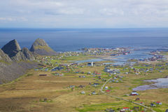 Norwegian town. Scenic town of Sorland with fishing port on island of Vaeroy, Lofoten, Norway Stock Photos