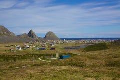 Norwegian town Sorland. Scenic norwegian fishing town of Sorland on island Vaeroy, Lofoten islands Stock Photo