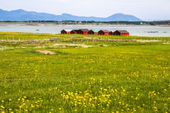 Norwegian traditional boathouse in countryside Royalty Free Stock Image