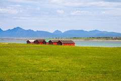 Norwegian traditional boathouse in countryside Stock Photo