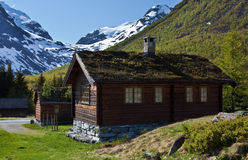 Norwegian traditional houses. Photo tour of Norway, stop at the small village in the mountains Stock Images