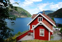 Norwegian traditional wooden house Stock Images