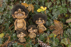 Norwegian Trolls. Typical smiling Trolls from Norway royalty free stock photos